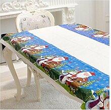 Einweg Weihnachten Tischdecke,Moonuy Heißer Verkauf Einweg Frohe Weihnachten Rechteckigen Gedruckt PVC Cartoon Tischdecke für Weihnachten 110 * 180 cm (Blau)