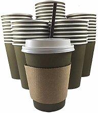 Einwegbecher für Kaffee und Tee, mit Deckel, 100