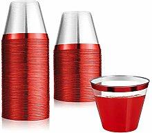 Einwegbecher mit rotem Rand, 266 ml, 100 Stück