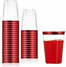 Einwegbecher mit rotem Rand, 284 ml, 100 Stück