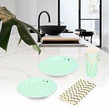 Einweggeschirr, Dots Print Pappteller Tasse Stroh