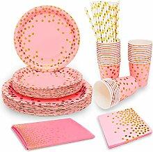 Einweggeschirr-Set mit rosafarbenen und goldenen