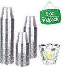 Einwegteller-Set 9oz Cups silber