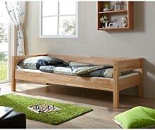 Einzelbett aus Buche Massivholz Bettkasten