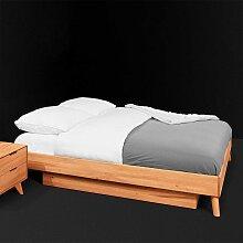 Einzelbett aus Kernbuche Massivholz 35 cm Fußteil