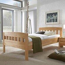 Einzelbett aus Kernbuche Massivholz mit