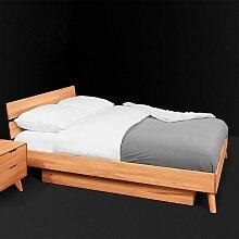 Einzelbett aus Kernbuche Massivholz Schublade