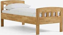 Einzelbett aus Wildeiche Massivholz honigfarben geölt