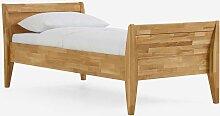Einzelbett aus Wildeiche Massivholz Überlänge