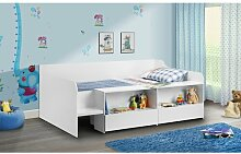 Einzelbett Curtis mit Schubladen und Regalen, 90 x