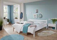 Einzelbett LOUISE 90x200 Kiefer massiv weiß