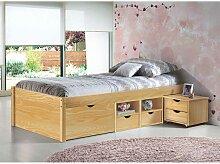 Einzelbett mit Schubladen Kiefer massiv (2-teilig)