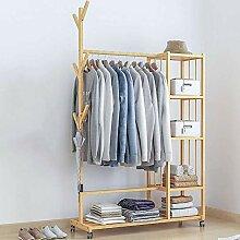 Einzelschiene Bambus Kleiderständer Mit Rädern