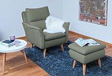 Einzelsessel Ohrensessel Lesesessel Relaxsessel Fernsehsessel Ruhesessel TV-Sessel Stuhl Relaxstuhl im Landhausstil Liege Sessel Retrostil Retrodesign in khaki grau Eiche