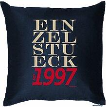 EINZELSTUECK seit 1997 : Kissen mit Füllung - Witziges Zusatzkissen, Kuschelkissen, 40x40 als Geschenkidee. Navy Blau