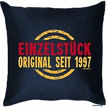 EINZELSTÜCK SEIT 1997 : Kissen mit Füllung - Witziges Zusatzkissen, Kuschelkissen, 40x40 als Geschenkidee. Navy Blau