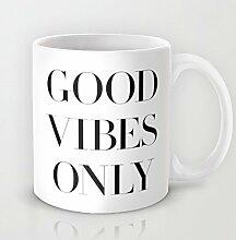Einzigartige Good Vibes nur Kaffee Tasse Weihnachtsgeschenk Idee 11Oz Keramik Kaffee Becher Great Novelty Geschenk Weihnachten Geschenke für Männer, Frauen, Oma, Opa, Freunde, Boss und Lehrer