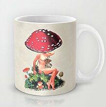 Einzigartige Shroom Mädchen Kaffee Tasse Weihnachtsgeschenk Idee 11Oz Keramik Kaffee Becher Great Novelty Geschenk Weihnachten Geschenke für Männer, Frauen, Oma, Opa, Freunde, Boss und Lehrer