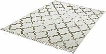 einzigartiger Teppich Flachgewebe hand woven taupe ca. 200 x 290 cm
