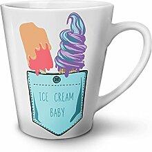 Eis Sahne Baby Tasche Kunst Weiß Keramisch Latte Becher 12 oz | Wellcoda