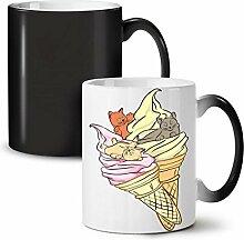 Eis Sahne Trödel Katze Essen Schwarz Farbwechsel Tee Kaffee Keramisch Becher 11 oz | Wellcoda