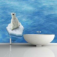 Eisbär & Blaues Meer Wandbild Lustiges Tier Foto-Tapete Kinderzimmer Dekor Erhältlich in 8 Größen Riesig Digital