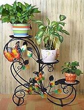 Eisen Blume Rack Pastoral Trapez Multilayer Blume Rack Wohnzimmer Indoor Flower Pot Blumenregal Bonsai Leiter Rack (schwarz und Bronze) ( farbe : A )