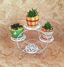 Eisen-Blumen-Racks, europäischen Stil Desktop-Blumen-Racks Complete Mehrere Schichten Wohnzimmer Grüne Pflanze Regale Vier runden Blumenrahmen weiß ( Farbe : #1 )