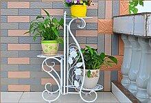Eisen-Blumen-Racks, Indoor-europäischen Stil Wohnzimmer Balkon Blumenregal Grüne Radix Orchideen Boden-Stil Blumentopf-Rack Mehrere Schichten 42,5 cm x 25 cm x 73 cm ( Farbe : Weiß )