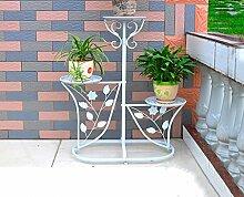Eisen-Blumen-Racks, Innen-und Außen-Balkon Wohnzimmer Mehrere Schichten Innen-und Outdoor-Blumen-Racks Blumenregal Boden-Stil Blumentopf-Rack 60 cm x 29 cm x (71 bis 95) cm ( Farbe : Weiß )
