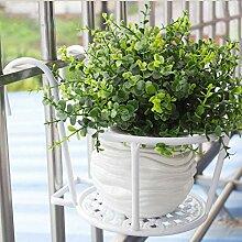Eisen Blumenrahmen Blumentopf Europäische Stil Balkon Geländer Blume Rack Hängende Blumentöpfe Hanging Window Sill Guardrail Blume Regal ( Farbe : Weiß , größe : 2 pcs )