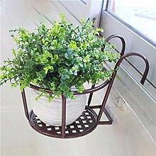 Eisen Blumenrahmen Blumentopf Europäische Stil Balkon Geländer Blume Rack Hängende Blumentöpfe Hanging Window Sill Guardrail Blume Regal ( Farbe : Braun , größe : 2 pcs )