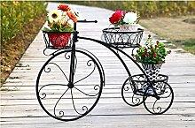 Eisen Blumenrahmen mehrstöckige Fahrrad Blume Rahmen Boden Typ Wagen Rahmen europäischen Stil kreative Balkon Regal Wohnzimmer Blumentopf Rack ( Farbe : Schwarz , größe : 60*22*44cm )