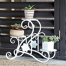 Eisen Blumenständer Bügeleisen DIY Balkon Fensterbänke Schreibtische Multi-Fleisch Pflanzen Kleine Blumentöpfe Mehrstöckige Blumenständer Starke Tragfähigkeit ( Farbe : Weiß )