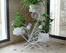 Eisen Blumenständer Multi - Boden Boden Blume Stand Balkon Pflanze Rack Innen European - Stil grünes Gras hängen Samt Topf Regal ( Farbe : Weiß )