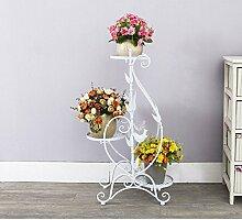 Eisen Blumenständer Multi - Geschoss Boden Balkon Blumentöpfe grün Rettich Blume Regal Wohnzimmer einfach hängende Orchidee Regal ( Farbe : Weiß )