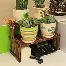 Eisen Blumenständer / Schreibtisch Massivholz Blumenständer Mini Lagerhaus Kleine Pflanze Rack Starke Tragfähigkeit ( Farbe : 2 )