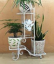 Eisen Blumentopf Regal Kreativ Pflanze Stand Blume Rack für Wohnzimmer Balkon Indoor ( farbe : Weiß )