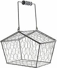 Eisen-Eierkorb Dekokorb mit Holzgriff in grau
