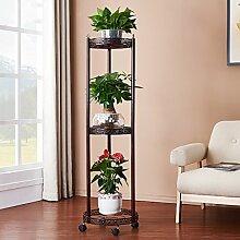 Eisen European - Style Iron Multi - Storey Kreatives Boden Wohnzimmer Pflanze Rack Indoor Balkon Blumentopf Rack Starke Tragfähigkeit ( Farbe : Messing )