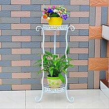 Eisen Kunst Blumen Racks Indoor-und Outdoor-Pflanzen Regale Balkon Wohnzimmer Blumentopf Display Stand ( Farbe : Weiß )