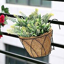 eisen kunst hängenden korb, blumenkorb originalität, balkon, dekoration, innen blau blumentopf,weizen