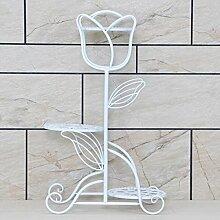 Eisen-Multilayer-Blumenregal / europäischer Balkon Wohnzimmer Boden Töpfe Regal / Indoor einfache Regal ( Farbe : Weiß , größe : 40*40*69cm )
