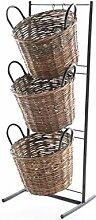 Eisenregal mit drei Weidenkörbe braun