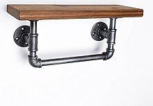 Eisenrohr Retro LOFT Rohr Badezimmer Bad Handtuchhalter Massivholz Regale Wand Wandregale