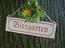 Eisenschild, Hängeschild, Wandschild, Biergarten, Metallschild 30x9 cm