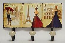 Eisenschild New York Paris Rom Wandhaken 3er Haken Handtuchhalter Garderobe Deko