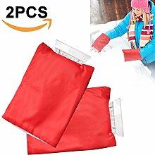 Eiskratzer mit Handschuh,Samione Auto Schneeschaufel Winter-wasserdichte warme Schnee Abbau Schaufel Handschuhe (2 Stück,Rot )