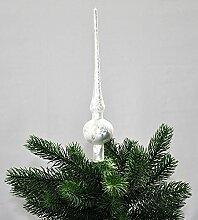 Eislack Glas 28cm Christbaumspitze Weiß