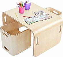 Ejoyous Tisch und Stühle für Kinder, Holz